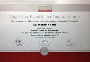 Dr. Marko Knauf Zertifikat DGOI